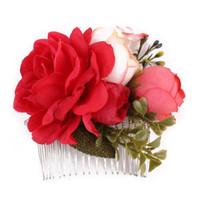 ткань для свадьбы оптовых-New Style Women Fashion Flower Hairpins Brides Hair Pins Clips Combs Bridesmaid Cloth Flower Jewelry Wedding Hair Accessories