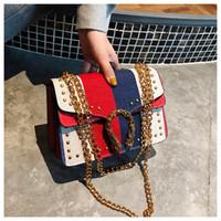 Wholesale rivets envelope purse for sale - Group buy New Fashion Leather Ladies Stripes Rivet bags Chain Shoulder Cross body Purse Messenger bags Kuankuanxiu