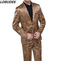 Wholesale leopard man suit jacket - Men's Suits Leopard jacket Trousers sets Costume Bar party singer performance clothes Vocal concert Chorus Host stage outfit