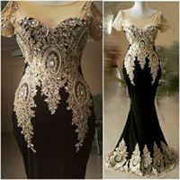 casquettes noires achat en gros de-Robes de bal noir 2019 soirée formelle robe de soirée robes de bal d'étudiants perles cristaux sirène africain Dubaï lycra mancherons pure cou