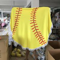 suaves toallas amarillas al por mayor-DHL Baseball Softball Manta Soft Fleece Throw Blanket 150 cm toalla de playa Estera de yoga amarillo blanco CY