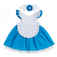ingrosso vestito blu dalla principessa 3t-Ragazze vestono 2018 nuovi bambini abbigliamento in cotone Alice Cenerentola vestito bianco blu arco Baby Girls Cosplay Party Princess + Hairband 2 pezzi vestiti