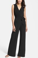 Wholesale 24 M Bodysuits - Ladies Evening Party Long Jumpsuit Sexy V neck Sleeveless Wide Leg bodysuits Playsuits 2018 new women Casual Slim Summer Rompers
