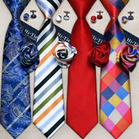 laço de gravata homens seda venda por atacado-Atacado Clássico Mens Gravatas Set Designer de Moda Gravata Set Hanky Abotoaduras 100 Gravatas De Seda Jacquard Tecido gravata de Casamento de Negócios Casuais