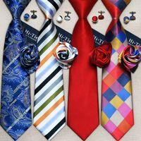 erkekler için kravatlar toptan satış-Toptan Klasik Erkek Kravatlar Set tasarımcı Moda Kravat Seti Hanky Kol Düğmeleri 100 Ipek Kravatlar Jakarlı Dokuma gravata Iş Düğün Rahat