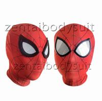 красные маски паука оптовых-Iron Spiderman маска Косплей Костюм 3D печать Лайкра Спандекс Маска Красный / Красный Размеры для взрослых Праздничные атрибуты бесплатная доставка