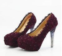 plataforma de zapatos de boda púrpura al por mayor-Nuevo tweed púrpura de los zapatos de la boda del cordón con los zapatos de la boda de la novia zapatos de las mujeres de la plataforma impermeable estupenda de los altos talones.