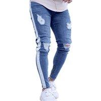 erkek mavi ripped jeans toptan satış-Erkek Yırtık Delik Mavi Kot Kot Ince Pantolon Genç Erkek Moda Giyim Kalem Pantolon Ücretsiz Kargo
