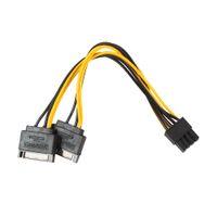 8pin adaptör kablosu toptan satış-Çift SATA 15pin 8pin (6 + 2) / 6 pin Ekran Kartı Güç Adaptörü Kablosu 20 cm PCI-E SATA Güç Kaynağı Kablosu 15-pin 8 pin kablo 100pcs / lot