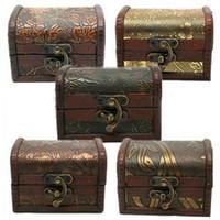 boîte en bois de stockage vintage achat en gros de-2016 Nouveau Vintage Bijoux Perle Collier Bracelet Organisateur De Rangement En Bois Coffret Cadeau