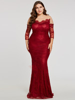 Wholesale hollow plus size special occasion dresses for sale - Wine Red Plus size Special Occasion Dresses For Women Illusion Lace Sleeves Sheer Neck Hollow Back Sheath Evening Prom Dress