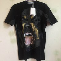 Wholesale Xl Dog Clothes - 2018 fashion designer luxury brand clothing t-shirt give summer for men Rottweiler dog print cotton casual tshirt tee tops shirts
