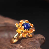 Wholesale Lapis Lazuli Ring Silver - Ring for woman S925 sterling silver ring gold A beautiful three-dimensional lotus Lapis lazuli Lord of the rings pearl Jewelry wholesale
