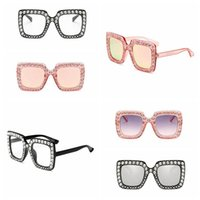 Wholesale Mirror Crystals - Square Diamond Sunglasses Oversized Crystal Mirror Shade Sun Glasses Ocean Piece Sunglasses Women Square Glasses 10pcs OOA4672