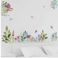 ingrosso farfalle da giardino-Adesivi murali di fiori colorati Primavera TV Sfondo Divano decorazione Uccelli volanti Farfalla decalcomania della parete 3d Garden Wedding Decor