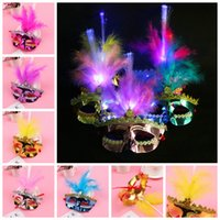 Wholesale dress up face online - Halloween LED Party Mask Flashing Princess Feather Mask Masquerade Fancy Dress Party Birthday Make Up Glowing masks GGA1057