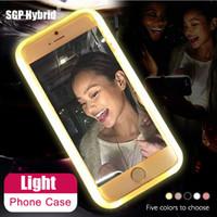 Wholesale light up phone cases - Case For iPhonex 6 6S 7 Plus 5 s Flash Selfie Light Up Glowing Luxury Phone Case For i Phone 5s 6s 7s plus iphoneX