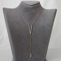 ingrosso y fascini-rosa oro colore micro pavimenta cz V donne fascino lariat stile Y gioielli di moda a forma di V zirconi cubici Y lunga collana di donne