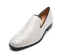 Wholesale shoes diamond studs online - 2019 new Hot fashion Men Casual Shoes slip on glitter Dress Men Shoes rhinestone stud Flats diamond loafers wedding shoe male