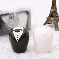 Wholesale Bridal Shower Gifts Bride - 2pcs set Bride and groom ceramic salt pepper shakers wedding bridal shower favor gifts Free shipping