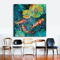 ingrosso decorazioni di giglio-1 Pz Pittura Su Tela Water Lily E Pesce Immagini A Parete Per Soggiorno Decorazione Della Casa Moderna Texture Arte