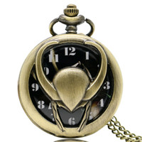 Wholesale movies clock - Hollow 3D Loki Symbol Pocket Watch Classic Marvel Series Slim Necklace Special Movie Fans Clock Unique Boys Girls Birthday Gifts