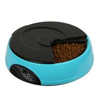 ingrosso vassoio automatico-Smart Automatic Pet Feeder Vassoi da 6 pasti con timer programmabile Funzione di messaggio 8s per gatti e cani