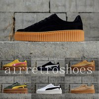Wholesale platform trainers - 2018 PUM Classic Platform Wheat black Green Casual shoes Fenty Cleated Creeper Professional Running shoes Outdoor Trainer PM Suede Creepers