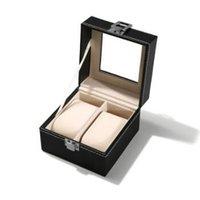 wrist watch gift box оптовых-11*11*8 см 2 сетки черный PU деревянные наручные часы дисплей Box ювелирные изделия хранения держатель организатор чехол с окном подарочная упаковка CCA10568 30 шт.