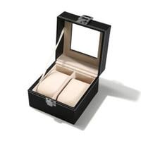 Wholesale watch case storage organizer resale online - 11 cm Grid Black PU Wooden Wrist Watch Display Box Jewelry Storage Holder Organizer Case with Window Gift Wrap CCA10568