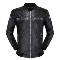 pp nuevos hombres al por mayor-Nueva calidad del cráneo de los hombres chaqueta de cuero negro PP suede chaqueta con cremallera delgado jersey top M-3XL chaqueta de los hombres PP