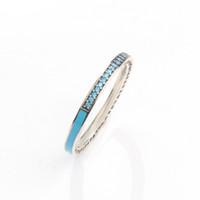 925 ringe blaues herz großhandel-925 Sterling Silber Ring für Pandora Jewelry Radiant Heart AIR blau Pink Emaille Synthetic Spinel Damen Ring Silberschmuck