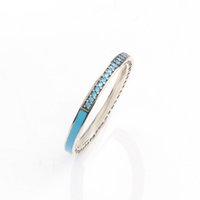 ingrosso anello in argento sterling blu-Anello in argento sterling 925 fit Pandora Jewelry Radiant Heart AIR blu smalto rosa sintetico Spinel Women Ring Gioielli in argento