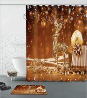 cortinas con dibujos modernos al por mayor-Patrón de venados de oro de la navidad 3D impresión personalizada a prueba de agua cuarto de baño moderno cortina de ducha de poliéster tela baño cortina de puerta estera establece