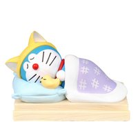 Wholesale anime doraemon online - Anime Peripheral Action Figure The Toy Jingle Cat Doraemon Blue Fat Robot Ornaments Meng Sleep Mobile Phone Seat Figure Toy