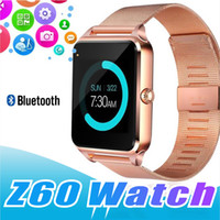 Wholesale stainless steel cards - Bluetooth Smart Watch Phone Z60 Stainless Steel Support SIM TF Card Camera Fitness Tracker GT08 GT09 DZ09 A1 V8 Smartwatch for IOS Android