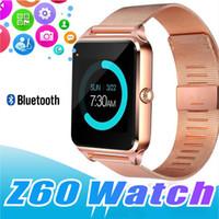 ingrosso vigilanza astuta del v8 del bluetooth-Bluetooth Smart Watch telefono Z60 supporto in acciaio inox SIM Card TF Fitness Tracker GT08 GT09 DZ09 A1 V8 Smartwatch per IOS Android