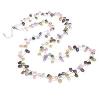 Wholesale natural baroque pendant - Fashion Women Natural Freshwater Pearl Sweater Chain Necklace & Pendants with Glass Seed Beads Baroque multi-colored wedding