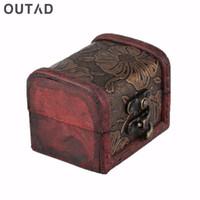 caja de madera de almacenamiento vintage al por mayor-Nueva Llegada 1 Pieza Caja de Reloj de La Vendimia Joyería Collar de Perlas Pulsera Organizador de Almacenamiento caja de Regalo Caja de Madera