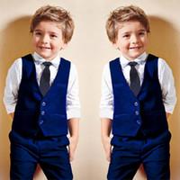 3f69a250052 4PCS Baby Boys Dress Suit Vest + Shirt + Necktie +Pants Set Kids Clothes  Outfits