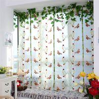cortinas bufanda al por mayor-1 UNIDS Pastoral Floral Mariposa Bordado Ventana de Tul Cortina Romana Cocina Sala Panel Sheer Bufanda Cortina 0.8 * 1 m