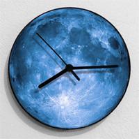 colgando de la luna al por mayor-Moda 3D 30 cm Gran Luna Diseño Reloj Creativo Estrella Diseño Reloj de Pared Para el Hogar Tienda Dormitorio Novedad Hang Decoración 36sh Z