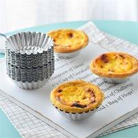 aluminium eierkuchenform großhandel-Hot 200 stücke Ei Torte Form Aluminium Cupcake Kuchen Plätzchenform Puddingform Backwerkzeug geleeform IB647