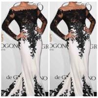 Wholesale long slim dress elastic - 2018 Bateau Long Sleeves Black Lace Appliques Slim Evening Dresses Custom Mermaid Prom Gowns Formal Vestidos De Soiree Cheap Sale