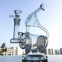 Wholesale unique water pipes - Unique Glass Bong Clear Water Pipe Recycler Dab Rig Honeycomb and Inline Perc Oil Rigs 14.5mm Joint Bongs Water Pipes Percolator WP143