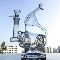 уникальные трубы для оптовых-Уникальная стеклянная бонговая труба для чистой воды Recycler Dab Rig Сотовые и встроенные нефтяные вышки Perc 14,5-миллиметровые соединительные бонги Трубы для воды Percolator WP143