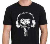 наушники с черепами оптовых-Каратель череп наушники логотип смешно мужская футболка черный : S-3XL печати футболка Harajuku с коротким рукавом мужчины топ