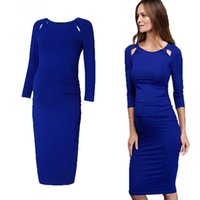 4196b106e47 Maternity Women Dresses Blue Pregnant Dress Noble Prom Knee-Length Office  Lady Business Party Gowns Evening Vestidos