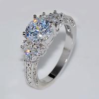 sz6 ring großhandel-Splendent White Stone Stilvolle Schmuck Frauen / Männer Ehering Anel Aneis Weißgold Verlobungsringe Sz6-11