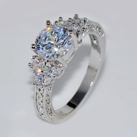 Wholesale cubic zirconia wedding rings for sale - Splendent White Stone Stylish Jewelry Women Men Wedding Ring Anel Aneis White Gold Plated Engagement Rings Sz6